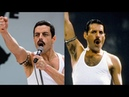Freddie Mercury Queen -Live at LIVE AID in 1985 side by side with Bohemian Rhapsody movie scene