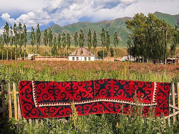 Витиеватые геометричные узоры традиционных киргизских ковров символичны Так, в очертаниях одного из узоров скрыт перепел, свивший гнездо на голове горного барана. Символ обозначает пожелание