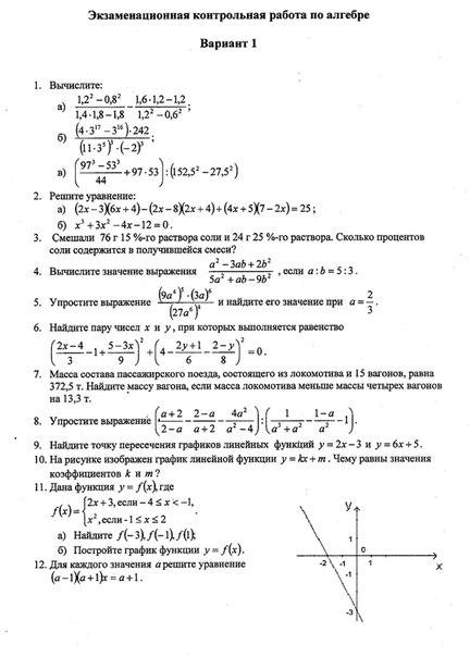 Итоговая контрольная работа решение по математике 8 класс макарычев
