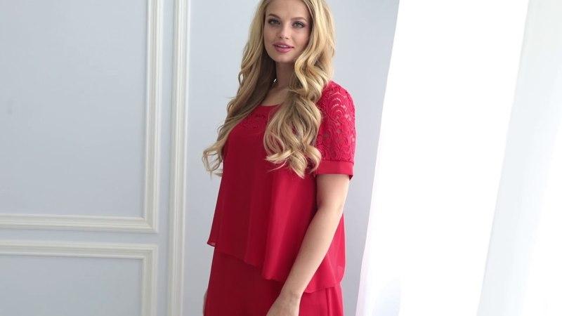 Женственное платье из воздушного шифона в новой коллекции от ТМ All Posa. Красное платье Лора