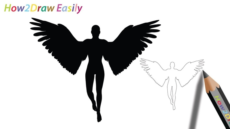 How to Draw an Angel Devil Silhouette Easy Step by Step Drawing