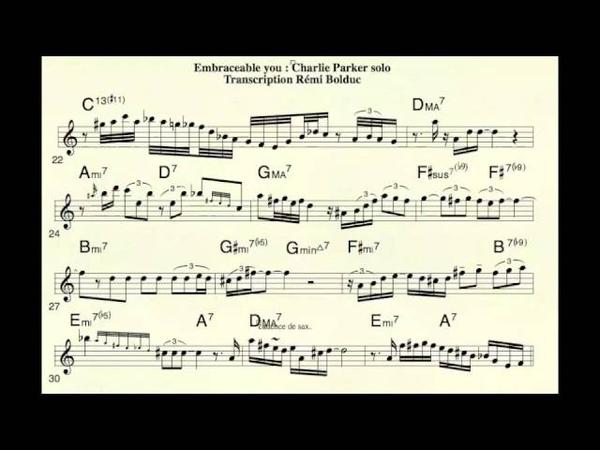 Remi Bolduc Transcription Charlie Parker's solo on Embraceable You