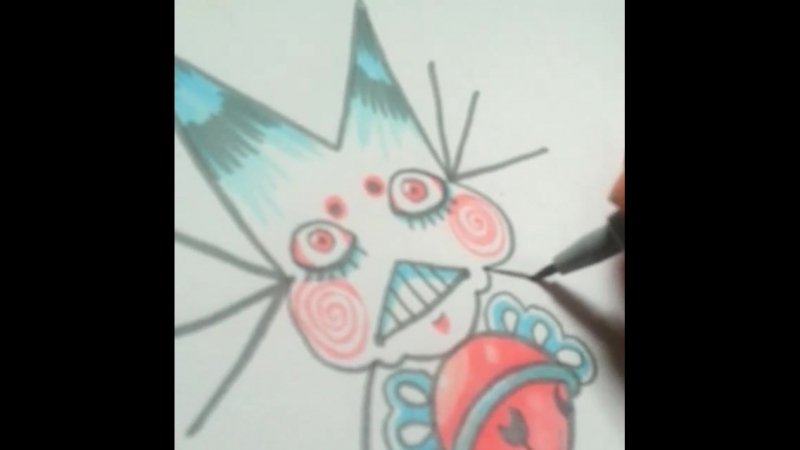"Drawin a catfish n @mkpunx pinched my bum  art catfish kitty"""