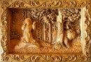 Резная деревянная картина ( панно ) - Серафим Саровский в лесу.