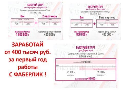 Бонус Быстрый старт! Заработай от 400 тысяч рублей за год! Работа в интернете Фаберлик Онлайн!