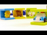 Развивающий мультфильм для детей от 6 месяцев: животные (полицейская машина и кубики)