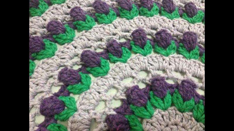 Toalha Botão de Flor / Flower Bud / Capullo de la Flor redonda crochê - Professora Maria Rita
