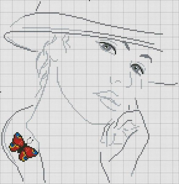 Девушки с бабочками. Вышивка крестиком, монохром…. (9 фото) - картинка