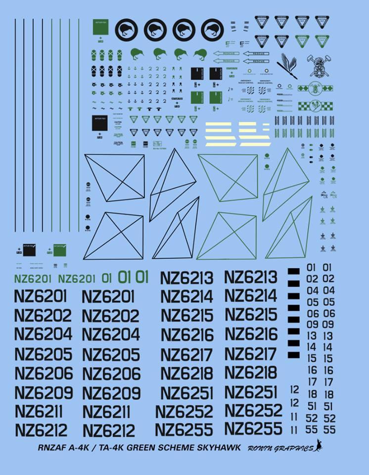 Ronin Decals 1//48 A-4K /& TA-4K SKYHAWK New Zealand AF Green Camo Schemes
