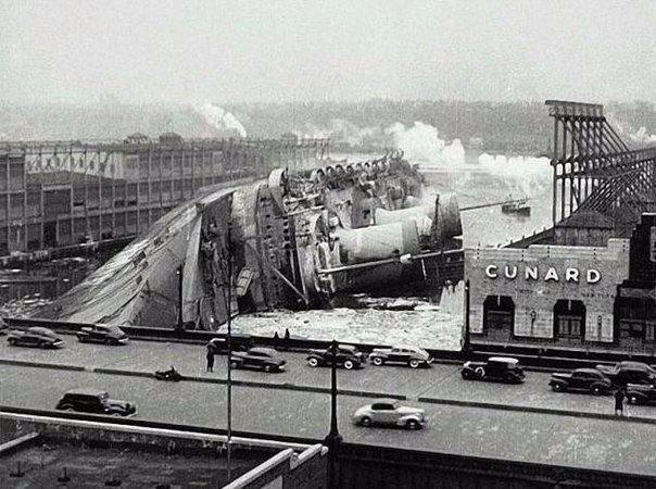 Крушение трансатлантического лайнера Normandie, 1942