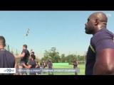 Тедди Ринер тренируется с регбистами
