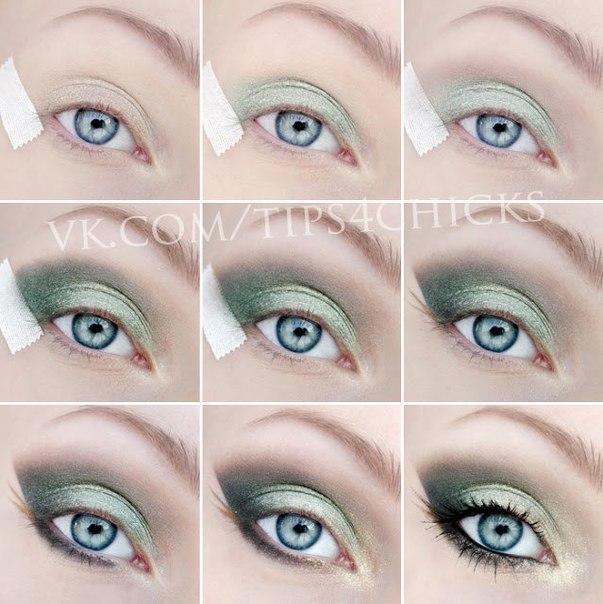 Зеленые глаза темные волосы макияж