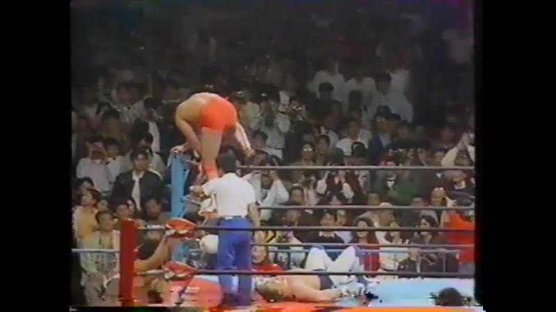 1991.04.06 - Kenta Kobashi/Tsuyoshi Kikuchi [c] vs. Dynamite Kid/Johnny Smith [CLIPPED]