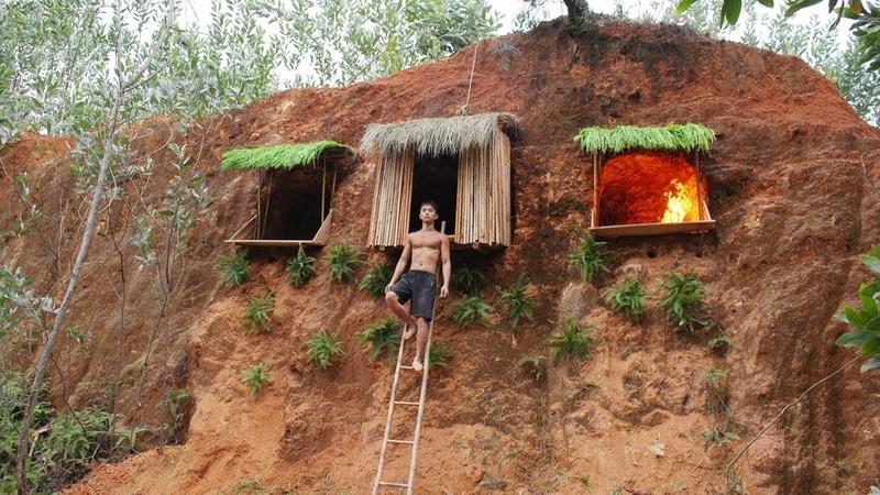 Строительство подземной хижины в скале, безопасное жилье в джунглях.