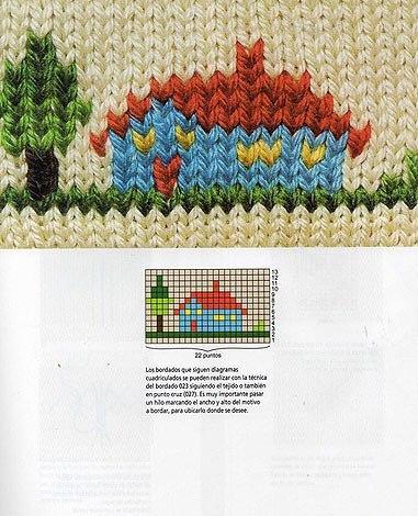 Декоративная вышивка на вязаном