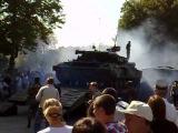 Погрузка Т-64 после военного парада