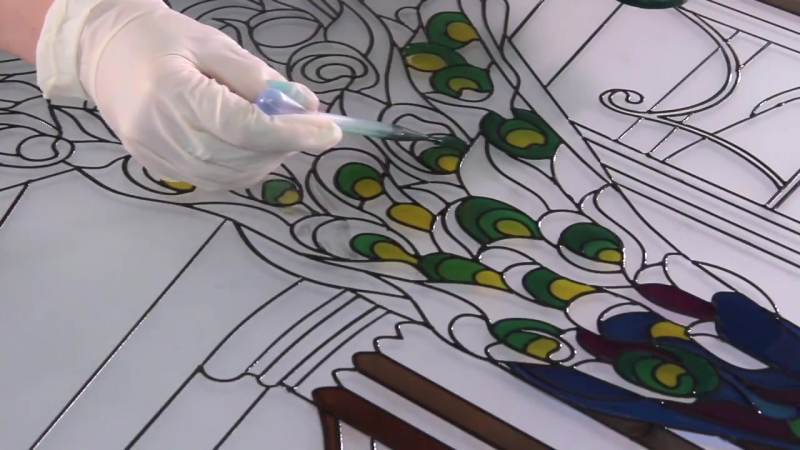 Cnc-controlled painting stained glass contour drawing machine