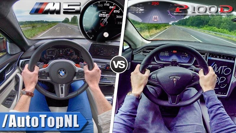 Tesla Model S P100D vs BMW M5 F90   0-250km/h ACCELERATION TOP SPEED AUTOBAHN POV by AutoTopNL