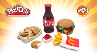 Play Doh Mcdonald's Fast Food. How to Make Mcdonald's Happy Meal Menu. Dolls Food. DIY Toys for Kids