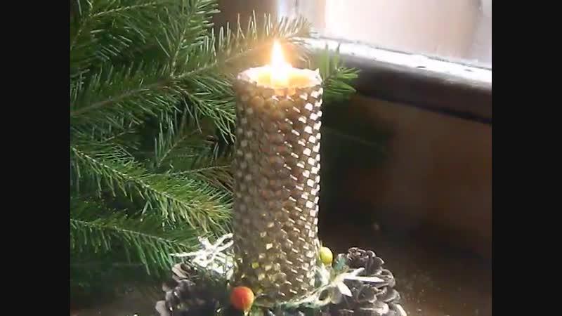 Горение свеча из вощины позолоченная свечным золотом