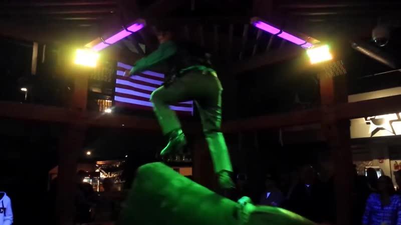 Man Dances on Mechanical Bull Wearing Best Sunday Suit (Storyful, Crazy)