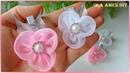 Цветы из органзы на заколке/Organza Flower Tutorial/Flower Hair Clip/Flores de Organza/Ola ameS DIY