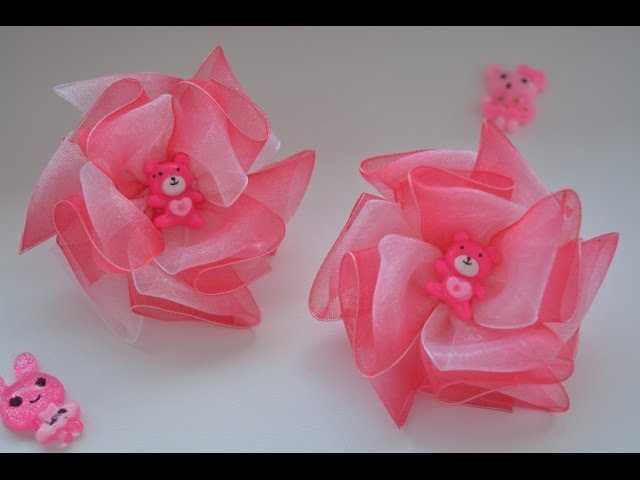 Легкие бантики из органзы/Light bows made of organza