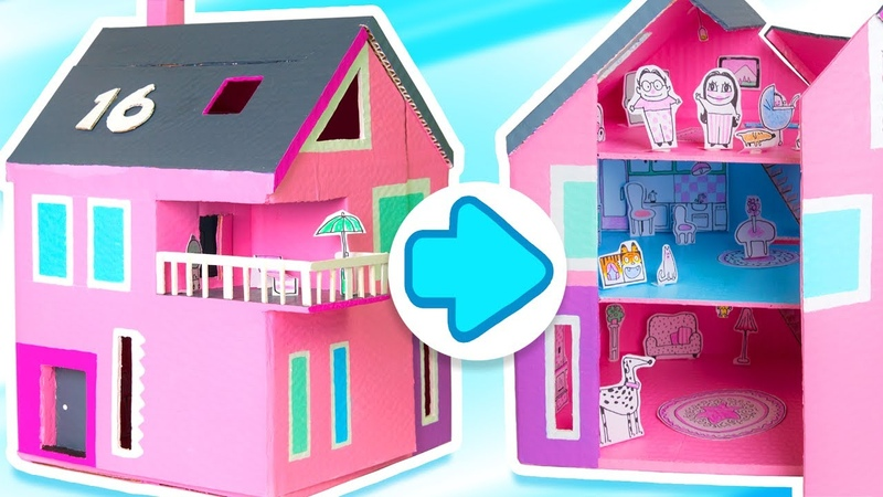 How to Make a Dollhouse that Opens Closes | DIY Cardboard Houses on Box Yourself