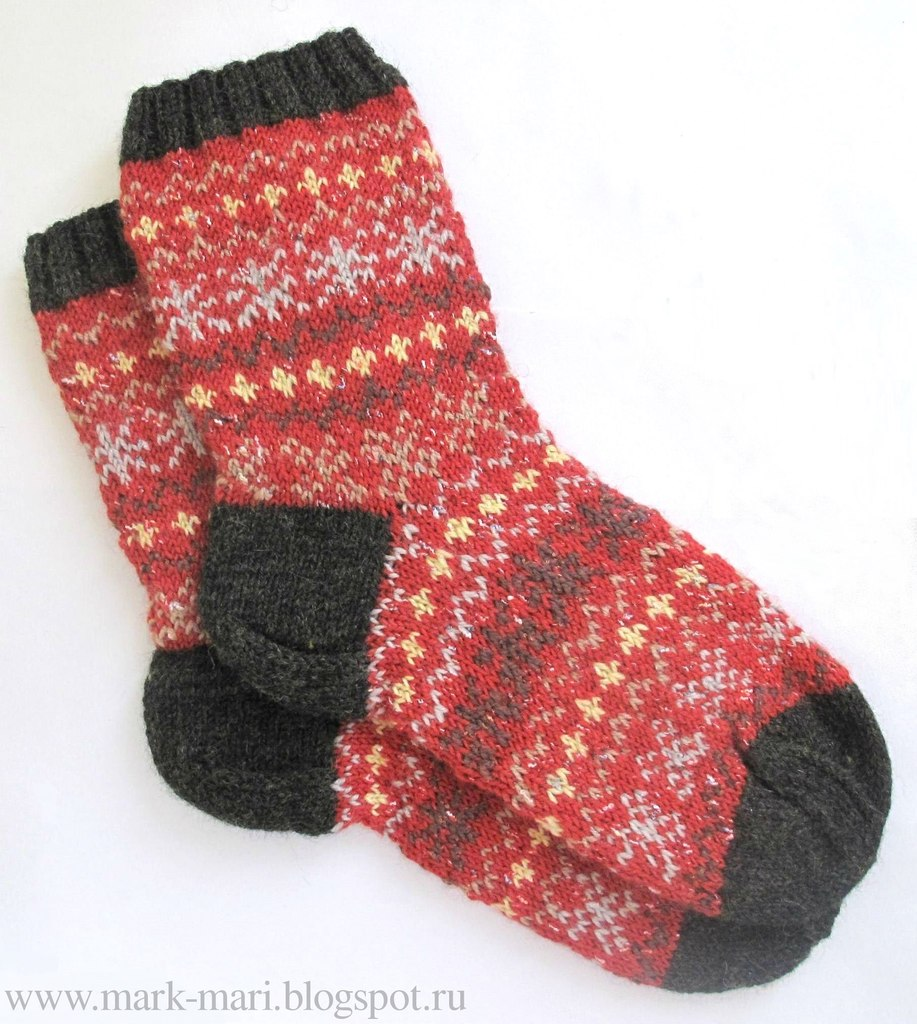 схема вязания новогодних носок для подарков
