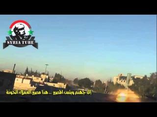 Сирия. Деар-эр-Зор. Выстрел из танка по наблюдательному пункту боевиков FSA.