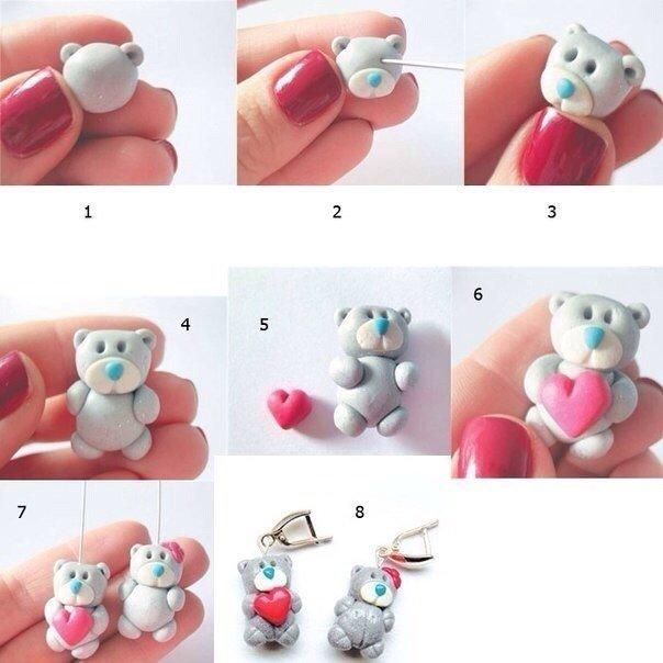 Мишка из полимерной глины