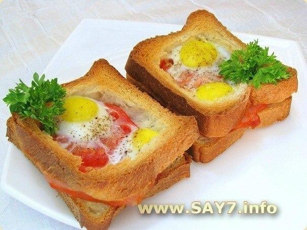 Горячие бутерброды с окороком, помидорами и яйцами Для