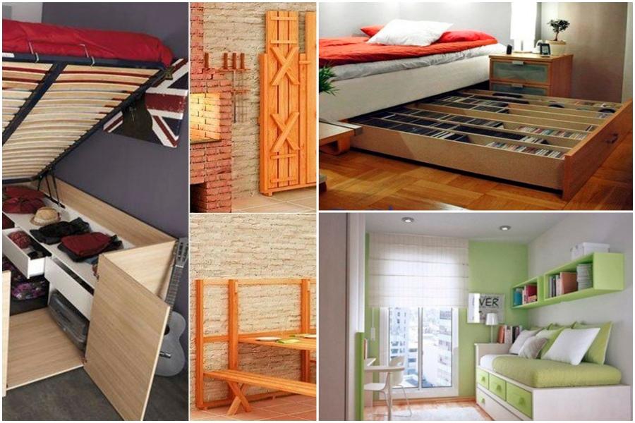 Кровать - трансформер и другая компактная мебель на даче, идеи