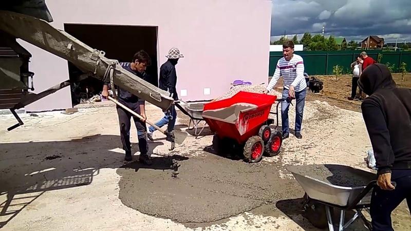 Мотомул, мини думпер перевозка бетона