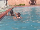 Josh and yaya in the pool