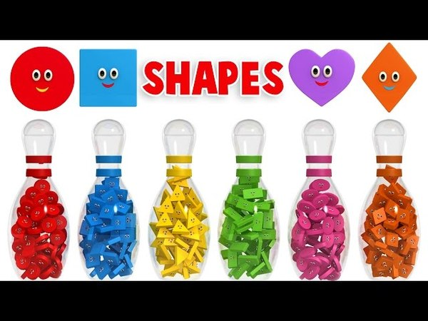 Learn Shapes with 3D Bowling Game - Colors and Shapes Collection for Children