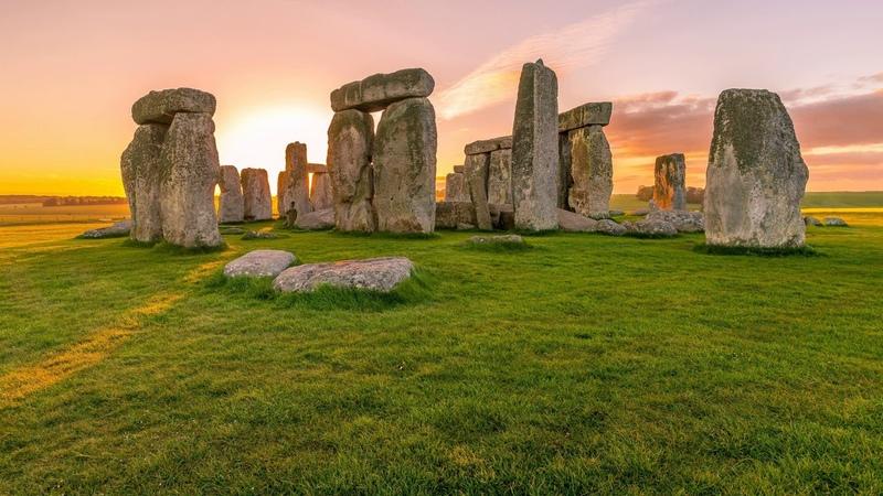 Картинка природа. Англия, камни, Стоунхендж, памятник, трава, утро. Imagine natura. Anglia, pietre