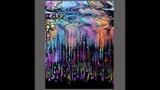 fluid acrylics ,Exciting Half wavy half straight Swipe, wet cotton rag tool, #2849-5.25.18