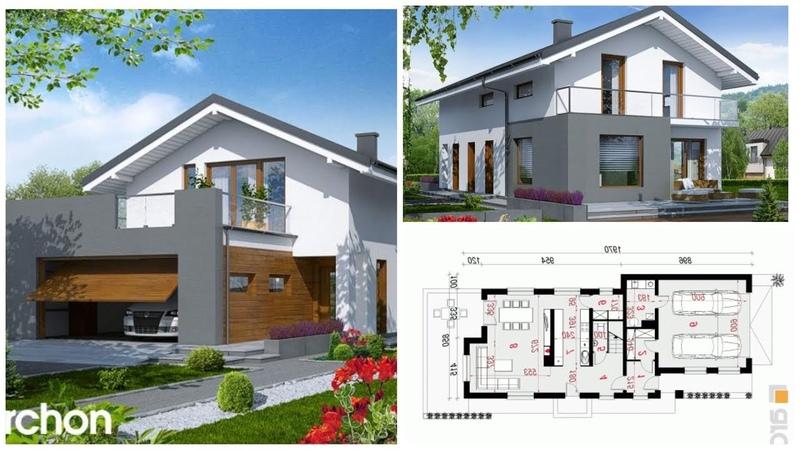 Проект двухэтажного дома с гаражом и террасой из пеноблока
