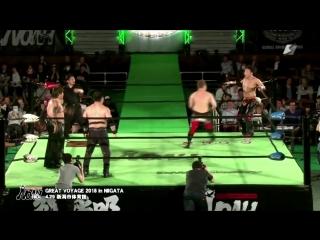 Mohammed Yone, Quiet Storm, Naomichi Marufuji vs. Akitoshi Saito, Hitoshi Kumano, Masao Inoue (NOAH - Great Voyage 2018 in Niiga