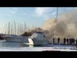Пожар на яхте в Афинах