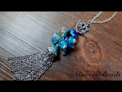 DoreenBeads Jewelry Making Tutorial How to Make Toggle Clasps Glass Beads Tassel Pendants Necklace