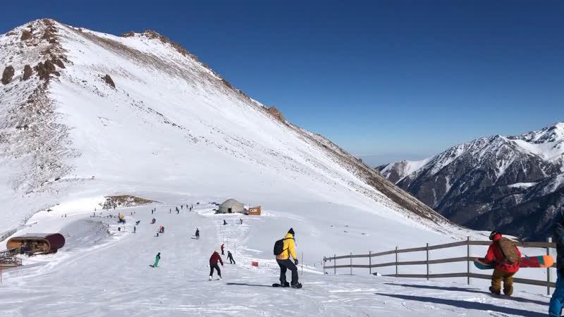 Катание на сноуборде. Шымбулак)