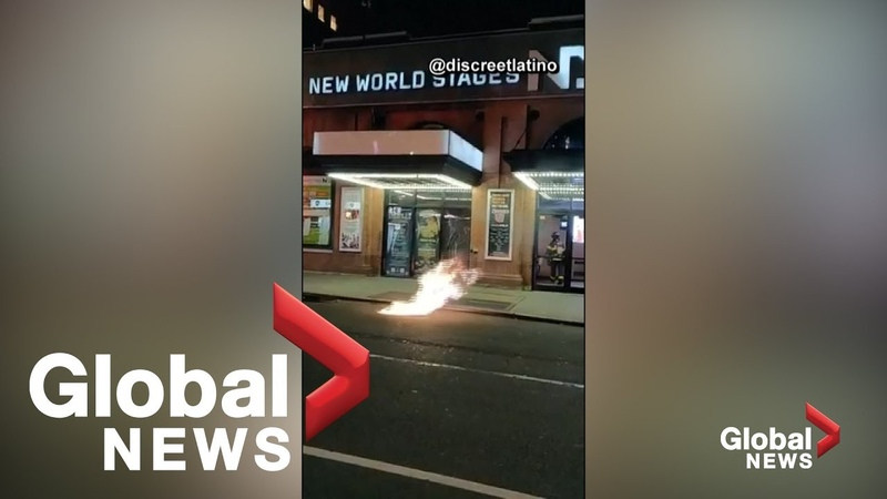 Flames seen erupting from manholes in New York's Hell's Kitchen