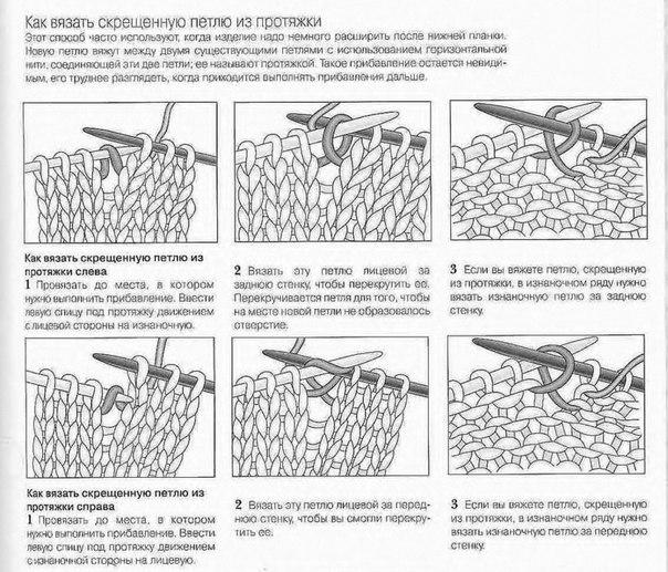 Как вывязать лицевую петлю из протяжки