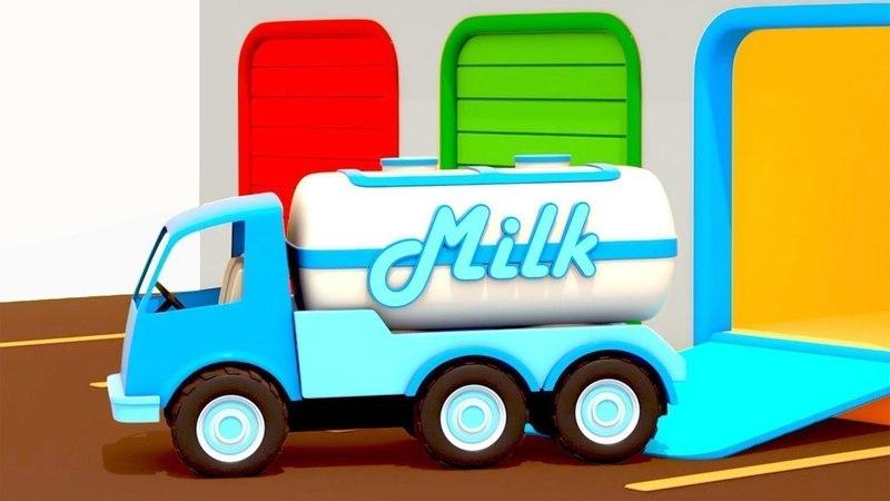 Vehículos de servicio. Un camión de leche. Tractores infantiles.