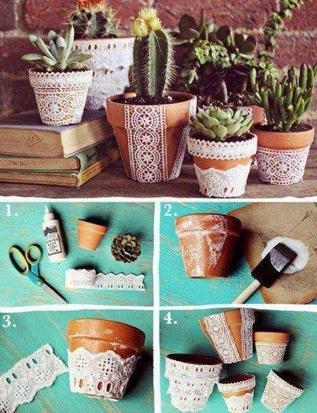 Декорируем глиняные горшочки