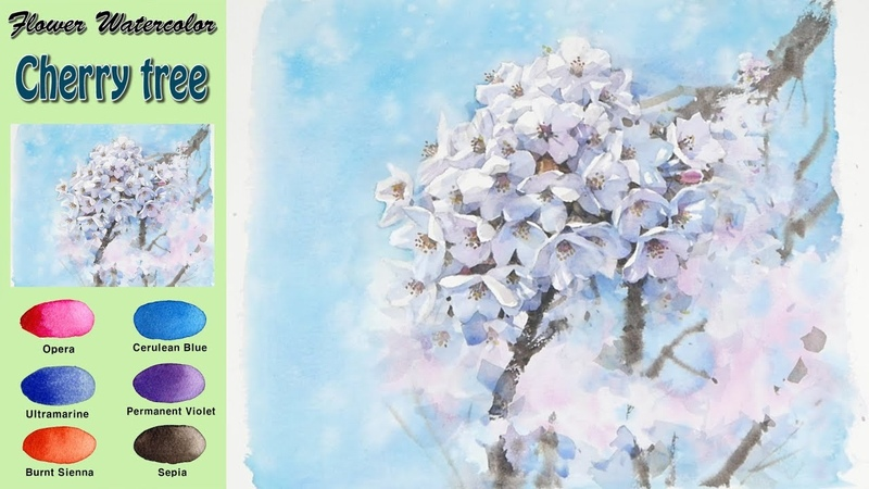 Cherry tree - Drawing spring flowers watercolor (wet-in-wet. Arches)NAMIL ART