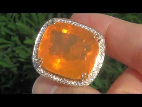 TOP GEM AAA 40.06 Carat VVS Mexican Fire Opal Diamond 18K Gold Vintage Ring in HD