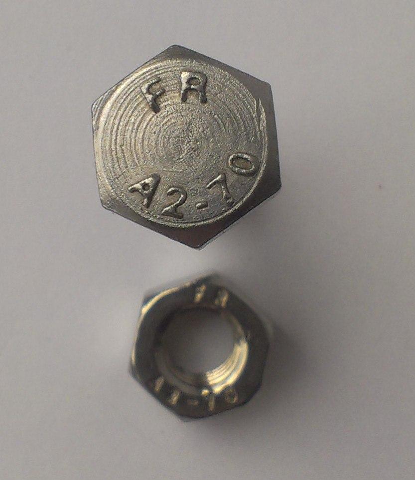 маркировка болтов и гаек для заслонки Inoxpa
